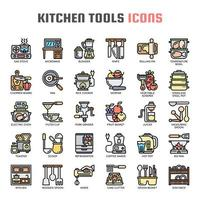 Ícones de linha fina de ferramentas de cozinha vetor