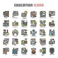 Ícones de linha fina de educação vetor