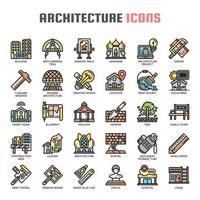 Ícones de linha fina de arquitetura vetor