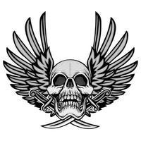 brasão de caveira grunge com asas vetor