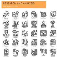 Ícones de linha fina de pesquisa e análise vetor
