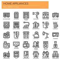 Ícones de linha fina de eletrodomésticos vetor