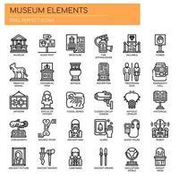 Ícones de linha fina de elementos de museu vetor