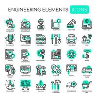 Ícones de linha fina monocromática de elementos de engenharia vetor