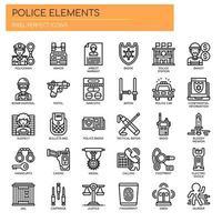 Elementos de polícia fina linha de ícones vetor