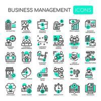 Ícones monocromáticos de linha fina de gestão de negócios