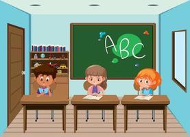 Alunos trabalhando em mesas na sala de aula vetor