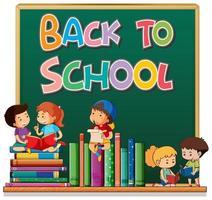 Volta para o modelo de escola com alunos e livros na lousa