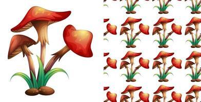 Design de plano de fundo sem emenda com cogumelos vermelhos vetor