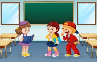 Alunos conversando em uma sala de aula vazia vetor