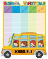 Modelo de calendário escolar com ônibus e crianças vetor