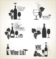 Rótulos de vinhos elegantes vetor