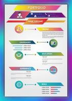 Modelo de currículo de portfólio design moderno com ícones de usuário vetor