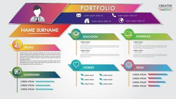 Portfólio retomar infográficos perfil presente modelo design moderno com usuário de ícones vetor