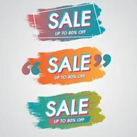 Banner de venda 80% de desconto conjunto de promoção de desconto especial de pinceladas de tinta