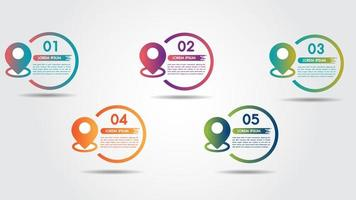Infográfico com 5 etapas e ponteiro de pino colorido vetor