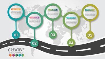 Modelo de design de estrada de mapa de navegação infográfico negócios com 5 etapas vetor