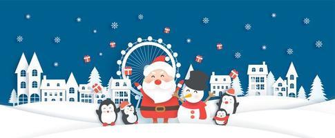 Banner de Natal com Papai Noel e animais fofos na vila de neve vetor