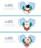 Conjunto de banners de Natal com elfo, Papai Noel e boneco de neve vetor