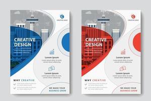 Modelo de negócios corporativos de design circular vermelho e azul vetor
