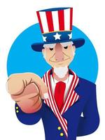 Personagem patriótico do tio Sam vetor