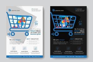 Modelo de negócios corporativos com megafone em forma de carrinho de compras vetor