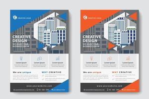 Modelo de negócios corporativos em recorte angular em azul e laranja vetor