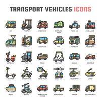 Ícones de linha fina de veículos de transporte vetor