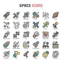 Ícones de linha fina de espaço vetor