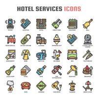 Ícones de cor de linha fina de serviço de hotel vetor