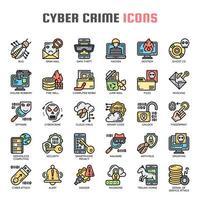Ícones de linha fina de crime cibernético vetor