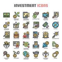 Ícones de cor de linha fina de investimento vetor