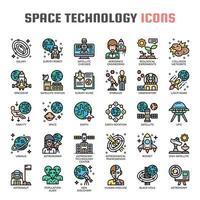 Ícones de linha fina de tecnologia astronáutica