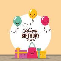 cartão de feliz aniversário com presentes kawaii e balões