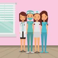 equipe médica do povo feminino abraçando vetor
