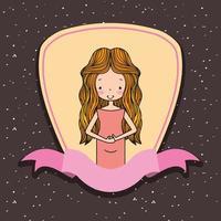 mulher bonita grávida na decoração de fita de etiqueta vetor