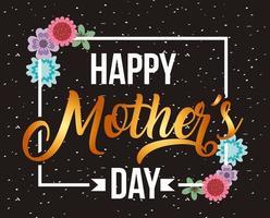 cartão de dia das mães com detalhes em moldura branca e flor vetor
