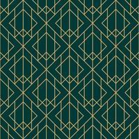 padrão geométrico de diamante verde e dourado vetor
