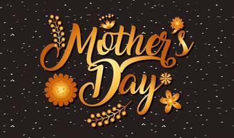 cartão de dia das mães com texto gradiente ouro e elementos florais vetor