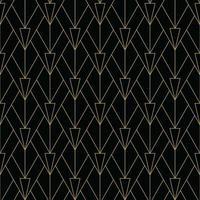 padrão simples art deco preto e dourado vetor