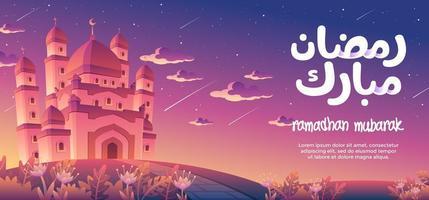 Ramadhan Mubarak com uma magnífica mesquita ao entardecer, decorada com muitas estrelas cadentes vetor