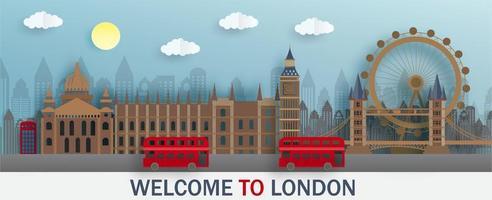 Bem-vindo a Londres em papel cortado vetor