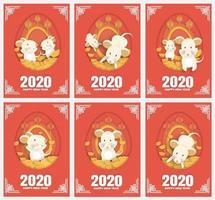conjunto de cartões de ano novo vetor