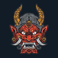 Cara de demônio japonês com raiva vetor