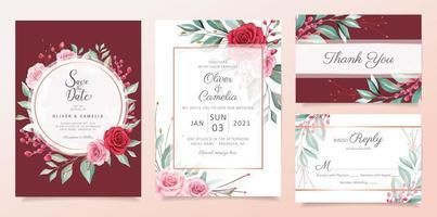 Modelo de cartão de convite de casamento floral vermelho conjunto com arranjos de flores em aquarela