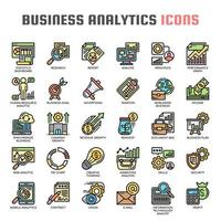 Linha fina de análise de negócios e ícones perfeitos de pixel vetor