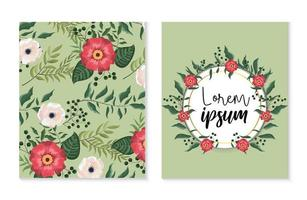 conjunto de cartão e etiqueta com flores e plantas de rosas