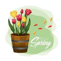 Primavera lindas rosas plantas com folhas vetor