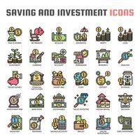 Ícones de linha fina de poupança e investimento vetor