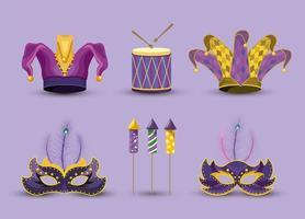 definir chapéu palhaço com máscaras e tambor para o carnaval
